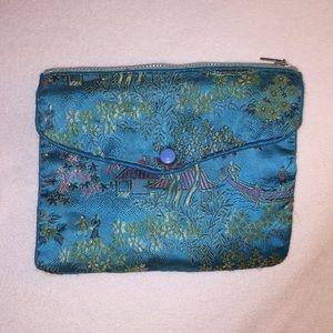 Jewelry travel case, satin, Japanese pattern